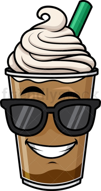 Cool iced coffee wearing sunglasses emoticon. PNG - JPG and vector EPS file formats (infinitely scalable). Image isolated on transparent background.