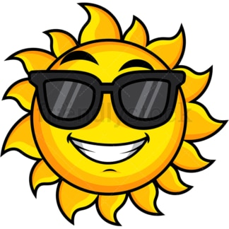 Cool sun wearing sunglasses emoticon. PNG - JPG and vector EPS file formats (infinitely scalable). Image isolated on transparent background.