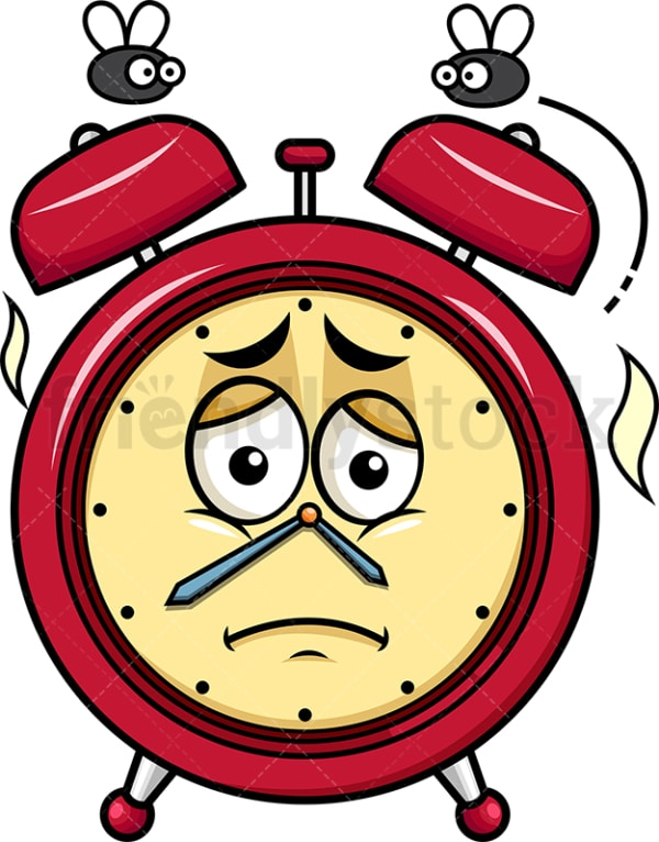 Stinky alarm clock going bad emoticon. PNG - JPG and vector EPS file formats (infinitely scalable). Image isolated on transparent background.