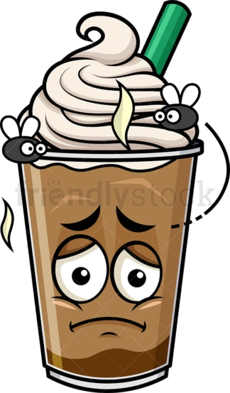 Stinky iced coffee going bad emoticon. PNG - JPG and vector EPS file formats (infinitely scalable). Image isolated on transparent background.