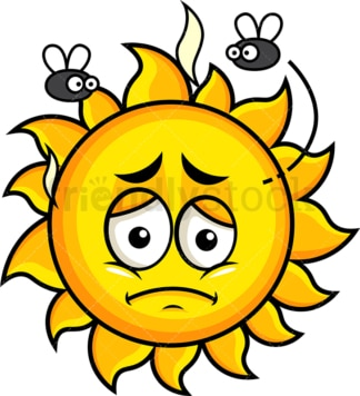 Stinky sun going bad emoticon. PNG - JPG and vector EPS file formats (infinitely scalable). Image isolated on transparent background.
