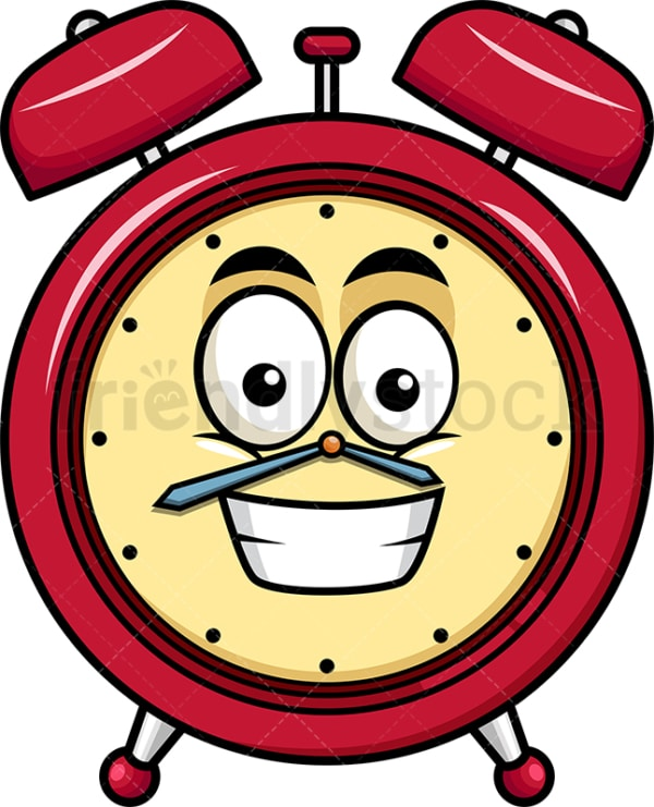 Grinning alarm clock emoticon. PNG - JPG and vector EPS file formats (infinitely scalable). Image isolated on transparent background.