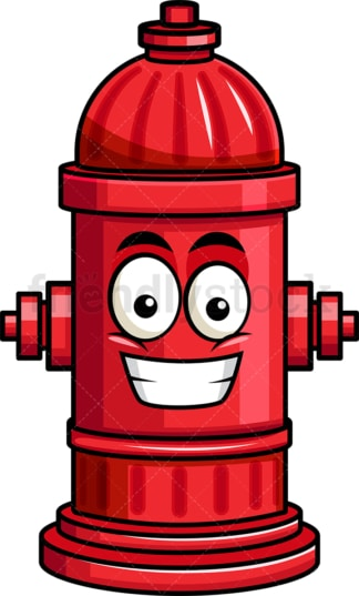 Grinning fire hydrant emoticon. PNG - JPG and vector EPS file formats (infinitely scalable). Image isolated on transparent background.