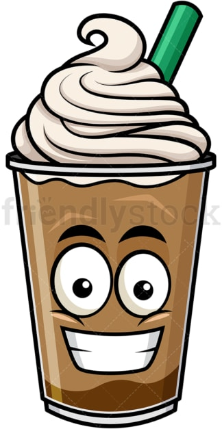 Grinning iced coffee emoticon. PNG - JPG and vector EPS file formats (infinitely scalable). Image isolated on transparent background.