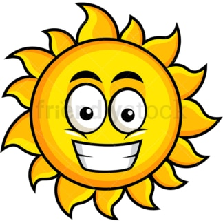 Grinning sun emoticon. PNG - JPG and vector EPS file formats (infinitely scalable). Image isolated on transparent background.