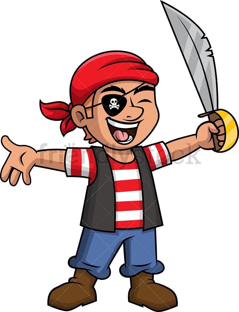 Joyful Male Pirate Cartoon Clipart Vector - FriendlyStock