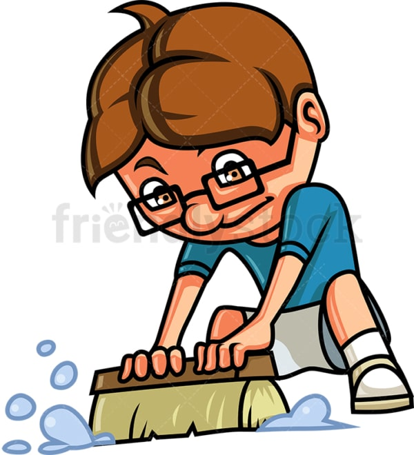 Kid cleaning the floor. PNG - JPG and vector EPS (infinitely scalable).