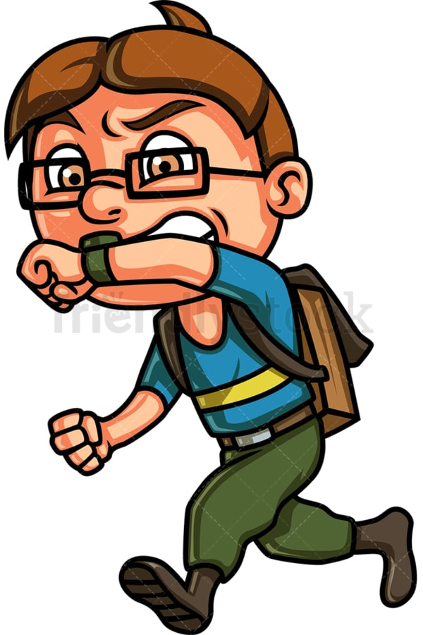 Kid running late for school. PNG - JPG and vector EPS (infinitely scalable). Image isolated on transparent background.