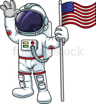 Male astronaut holding us flag. PNG - JPG and vector EPS (infinitely scalable). Image isolated on transparent background.