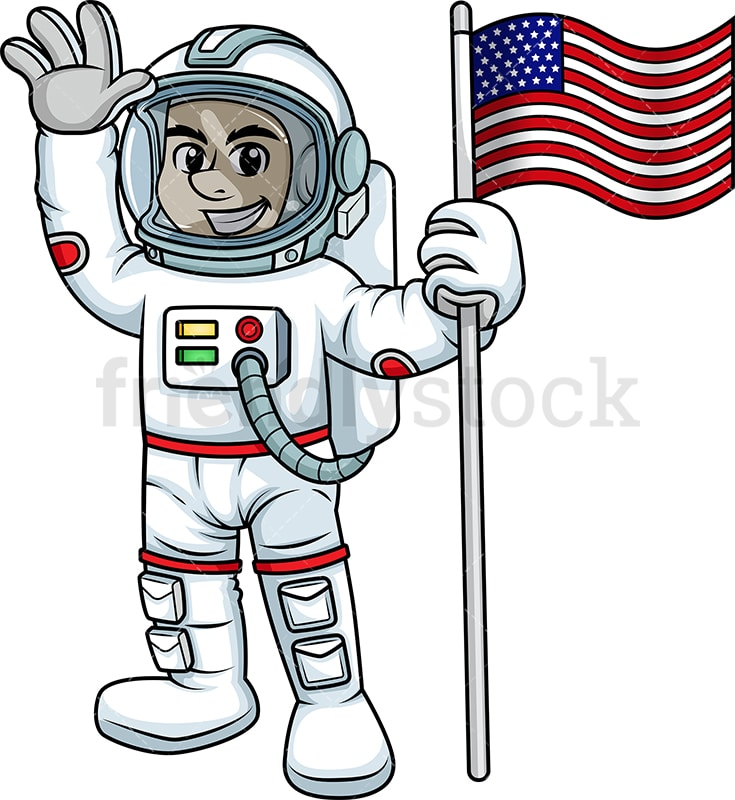 Man in space suit holding a flag of the United States. PNG - JPG - Vector EPS.