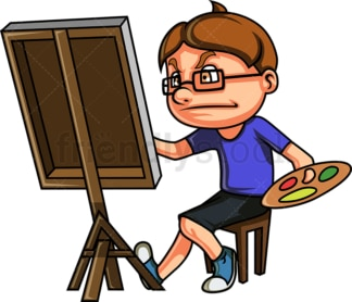 Nerdy kid drawing a painting. PNG - JPG and vector EPS (infinitely scalable).