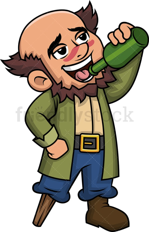 Pirate drinking rum. PNG - JPG and vector EPS (infinitely scalable). Image isolated on transparent background.