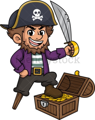 Pirate with treasure chest. PNG - JPG and vector EPS (infinitely scalable).