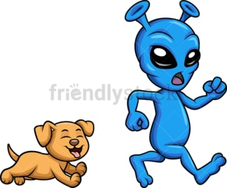 Scared alien running from puppy. Transparent PNG - JPG - vector EPS (infinitely scalable).