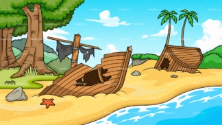 Shipwreck at the beach background in 16:9 aspect ratio. PNG - JPG and vector EPS file formats (infinitely scalable).