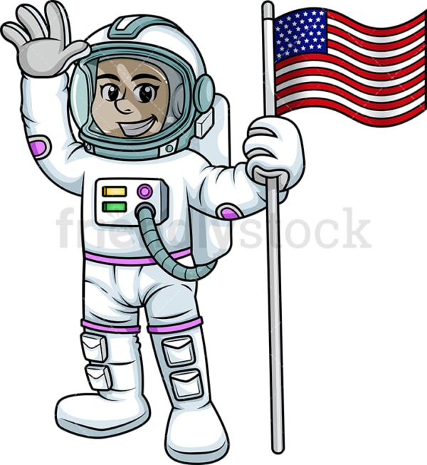 Woman astronaut holding usa flag. PNG - JPG and vector EPS (infinitely scalable). Image isolated on transparent background.