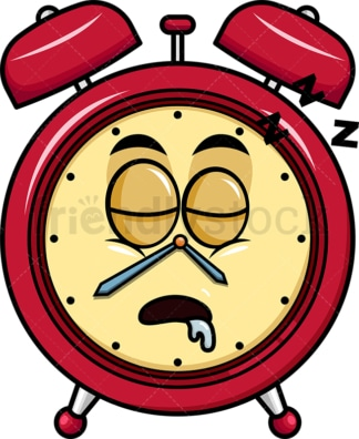 Sleeping alarm clock emoticon. PNG - JPG and vector EPS file formats (infinitely scalable). Image isolated on transparent background.