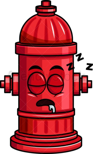 Sleeping fire hydrant emoticon. PNG - JPG and vector EPS file formats (infinitely scalable). Image isolated on transparent background.