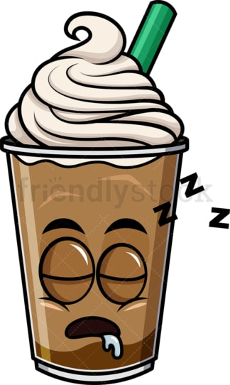 Sleeping iced coffee emoticon. PNG - JPG and vector EPS file formats (infinitely scalable). Image isolated on transparent background.