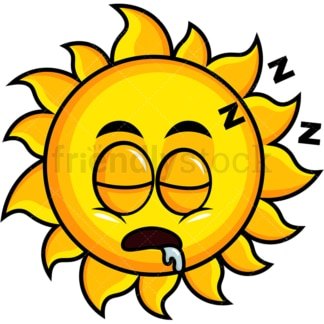 Sleeping sun emoticon. PNG - JPG and vector EPS file formats (infinitely scalable). Image isolated on transparent background.