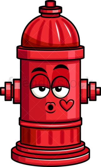 Fire hydrant blowing a kiss emoticon. PNG - JPG and vector EPS file formats (infinitely scalable). Image isolated on transparent background.