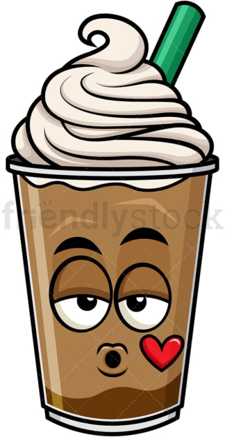 Iced coffee blowing a kiss emoticon. PNG - JPG and vector EPS file formats (infinitely scalable). Image isolated on transparent background.