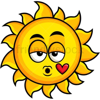 Sun blowing a kiss emoticon. PNG - JPG and vector EPS file formats (infinitely scalable). Image isolated on transparent background.