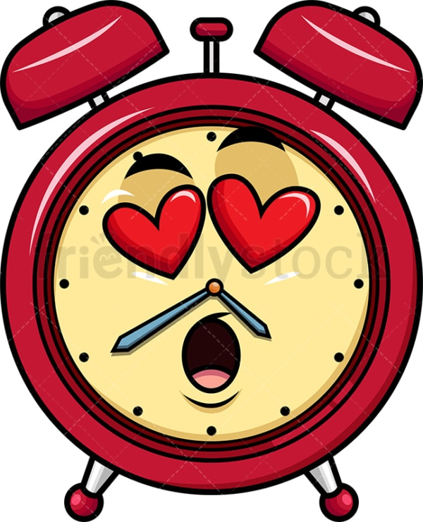 In love alarm clock emoticon. PNG - JPG and vector EPS file formats (infinitely scalable). Image isolated on transparent background.