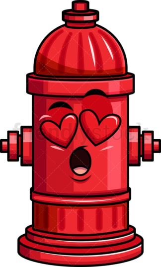 In love fire hydrant emoticon. PNG - JPG and vector EPS file formats (infinitely scalable). Image isolated on transparent background.
