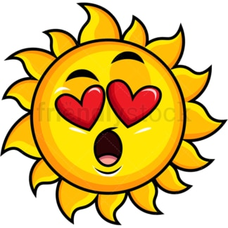 In love sun emoticon. PNG - JPG and vector EPS file formats (infinitely scalable). Image isolated on transparent background.