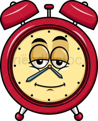 Sleepy alarm clock emoticon. PNG - JPG and vector EPS file formats (infinitely scalable). Image isolated on transparent background.