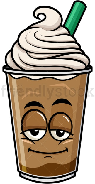 Sleepy iced coffee emoticon. PNG - JPG and vector EPS file formats (infinitely scalable). Image isolated on transparent background.