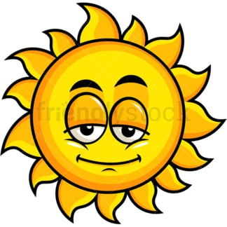 Sleepy sun emoticon. PNG - JPG and vector EPS file formats (infinitely scalable). Image isolated on transparent background.