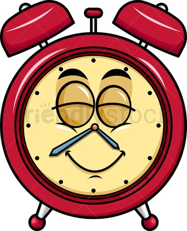 Delighted alarm clock emoticon. PNG - JPG and vector EPS file formats (infinitely scalable). Image isolated on transparent background.