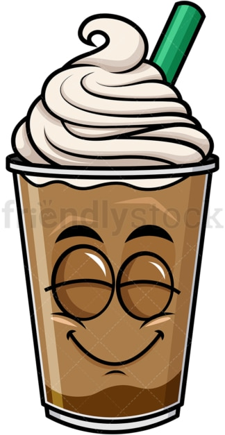 Delighted iced coffee emoticon. PNG - JPG and vector EPS file formats (infinitely scalable). Image isolated on transparent background.