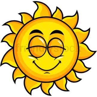 Delighted sun emoticon. PNG - JPG and vector EPS file formats (infinitely scalable). Image isolated on transparent background.