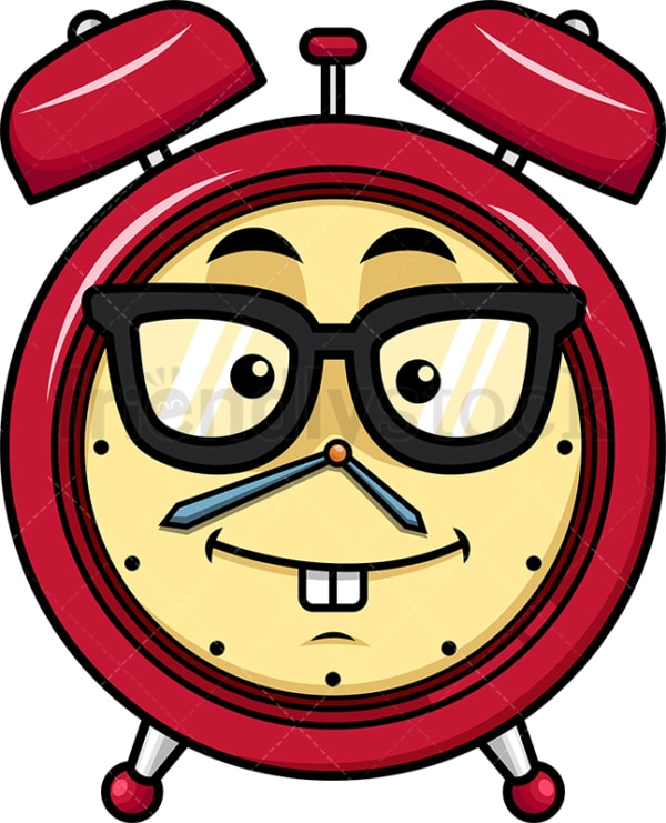 Nerdy alarm clock emoticon. PNG - JPG and vector EPS file formats (infinitely scalable). Image isolated on transparent background.