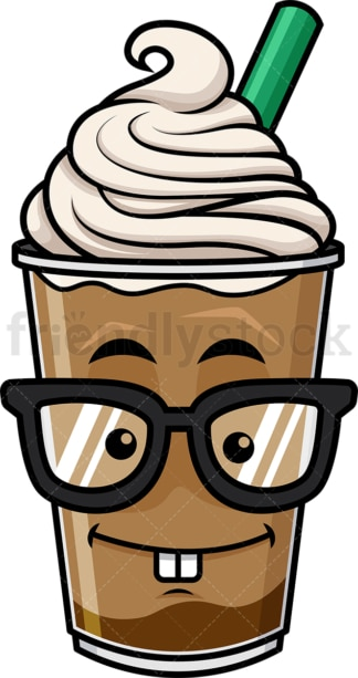 Nerdy iced coffee emoticon. PNG - JPG and vector EPS file formats (infinitely scalable). Image isolated on transparent background.