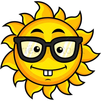 Nerdy sun emoticon. PNG - JPG and vector EPS file formats (infinitely scalable). Image isolated on transparent background.