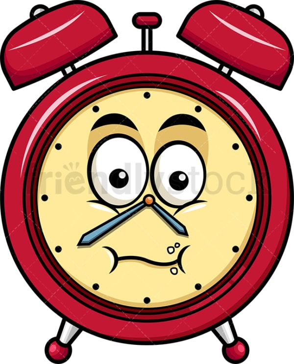 Chewing alarm clock emoticon. PNG - JPG and vector EPS file formats (infinitely scalable). Image isolated on transparent background.
