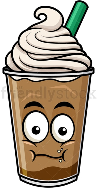 Chewing iced coffee emoticon. PNG - JPG and vector EPS file formats (infinitely scalable). Image isolated on transparent background.