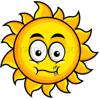 Chewing sun emoticon. PNG - JPG and vector EPS file formats (infinitely scalable). Image isolated on transparent background.