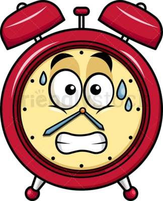 Sweating alarm clock emoticon. PNG - JPG and vector EPS file formats (infinitely scalable). Image isolated on transparent background.