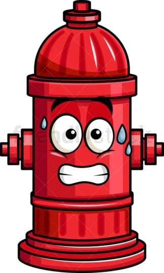 Sweating fire hydrant emoticon. PNG - JPG and vector EPS file formats (infinitely scalable). Image isolated on transparent background.