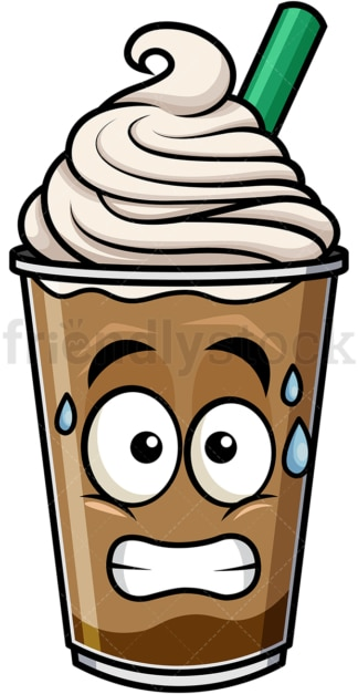 Sweating iced coffee emoticon. PNG - JPG and vector EPS file formats (infinitely scalable). Image isolated on transparent background.