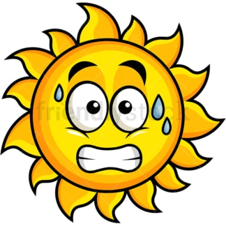 Sweating sun emoticon. PNG - JPG and vector EPS file formats (infinitely scalable). Image isolated on transparent background.