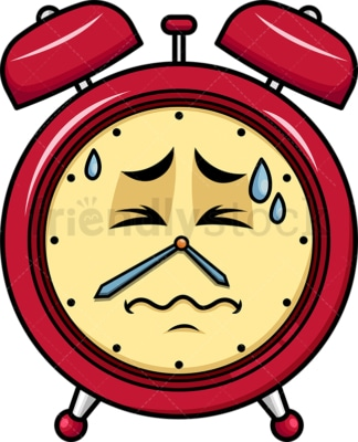 In Pain Alarm Clock Emoticon. PNG - JPG and vector EPS file formats (infinitely scalable). Image isolated on transparent background.