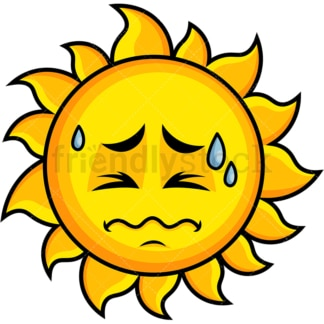 In Pain Sun Emoticon. PNG - JPG and vector EPS file formats (infinitely scalable). Image isolated on transparent background.