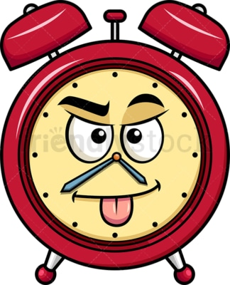 Sarcastic alarm clock emoticon. PNG - JPG and vector EPS file formats (infinitely scalable). Image isolated on transparent background.