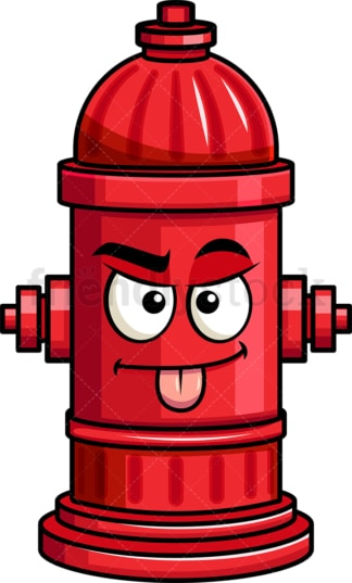 Sarcastic fire hydrant emoticon. PNG - JPG and vector EPS file formats (infinitely scalable). Image isolated on transparent background.